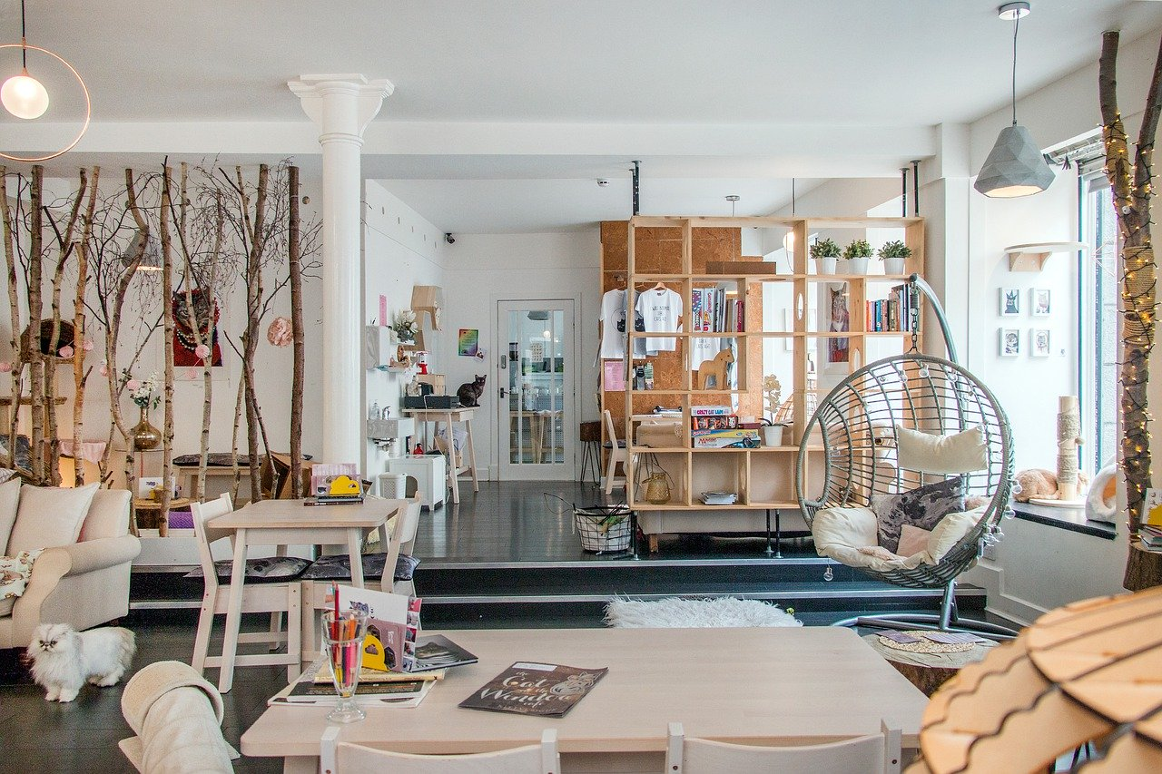 Kolorowe krzesła do kawiarni